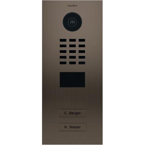 Portier vidéo IP multi-utilisateurs - 2 sonnettes - Doorbird D2102BV Bronze - Bronze