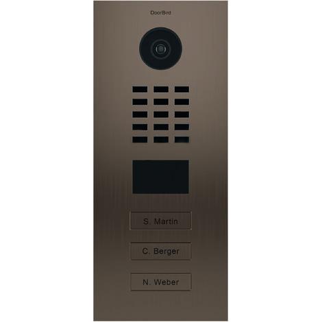 Portier vidéo IP multi-utilisateurs - 3 sonnettes - Doorbird D2103BV Bronze - Bronze