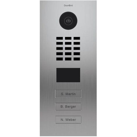 Portier vidéo IP multi-utilisateurs - 3 sonnettes - Doorbird D2103V EAU SALEE Inox - Inox