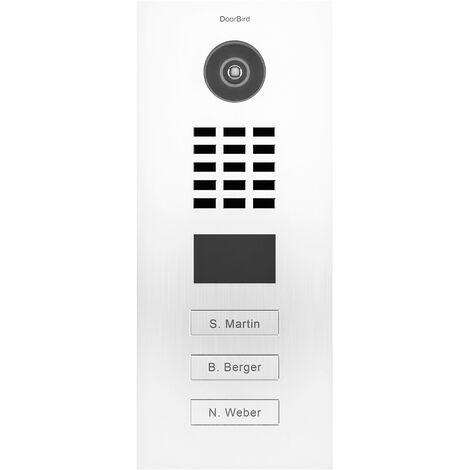 Portier vidéo IP multi-utilisateurs - 3 sonnettes - Doorbird D2103V RAL 9016 - Blanc