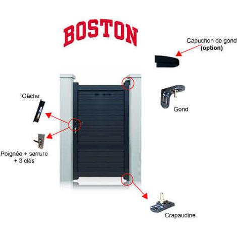 Portillon aluminium Boston - Hauteur : 1800 mm - Largeur entre piliers : 1040 mm - Plusieurs couleurs disponibles