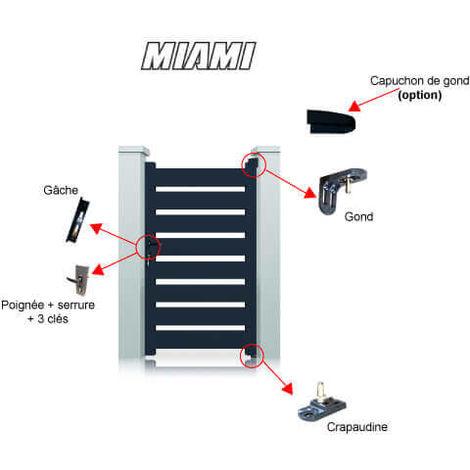 Portillon aluminium Miami - Hauteur : 1600 mm - Largeur entre piliers : 1040 mm - Différentes couleurs disponibles