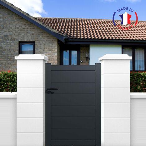 """main image of """"Portillon aluminium modèle plein en kit dimension L.1000 (entre piliers) x H.1500 mm couleurs Blanc (RAL 9010)"""""""