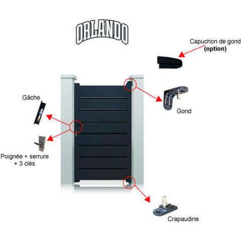 Portillon aluminium Orlando - Hauteur : 1600 mm - Largeur entre piliers : 1040 mm - Couleur : Gris