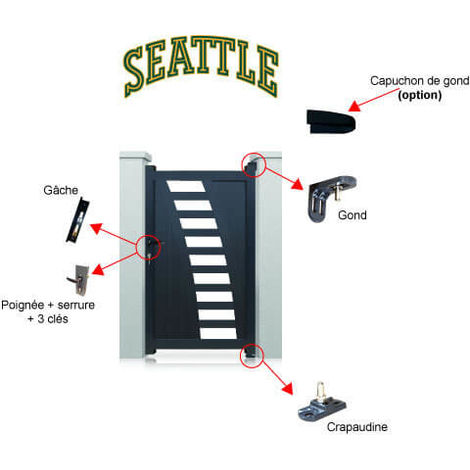 Portillon aluminium Seattle - Hauteur : 1800 mm - Largeur entre piliers : 1040 mm - Plusieurs couleurs disponibles
