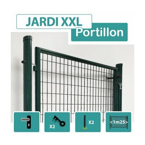 Portillon Jardin Grillagé Gris JARDI XXL - Passage 1m25 - 1.20 mètre