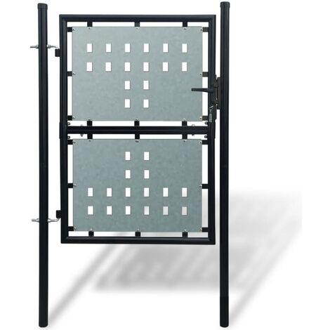 Portillon de jardin Single Noir 100 x 175 cm