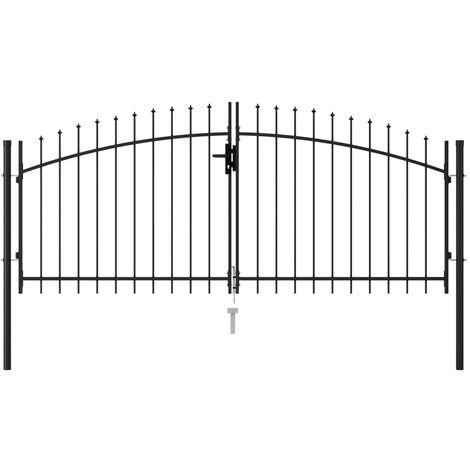 Portillon double porte avec dessus à pointe Acier 3x1,25 m Noir