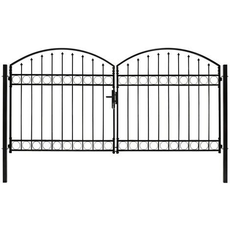 Portillon double porte avec dessus arqué Acier 300x125 cm Noir
