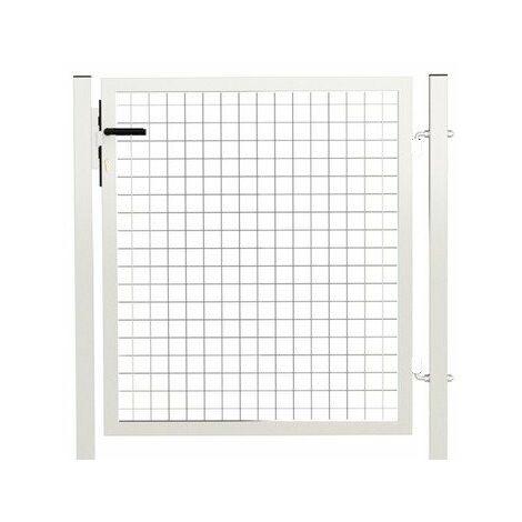 Portillon Jardin Grillagé Blanc JARDIPREMIUM - 1 mètre