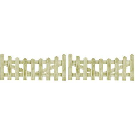 Portillons de jardin 2 pcs Pin impregne FSC 150 x 60 cm
