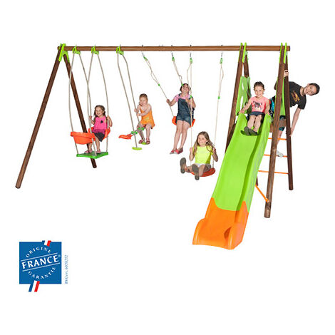 Portique 2,30 m bois-métal nacelle, plateforme, toboggan pour 6 enfants