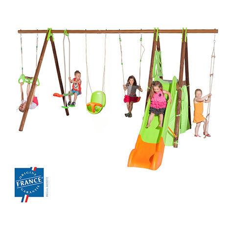 Portique 2,30 m bois-métal trapèze, cabane, siège bébé pour 9 enfants
