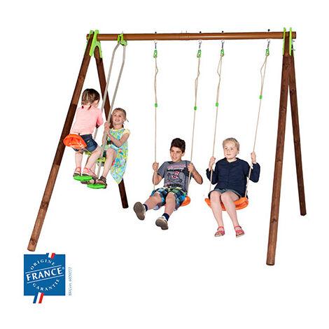 Portique bois et métal 2,30 m avec balançoires, échelle pour 3 enfants