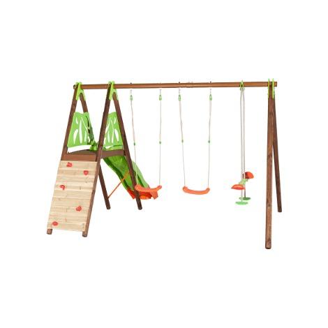 Portique bois et métal 2,30 mur d'escalade, plateforme pour 7 enfants