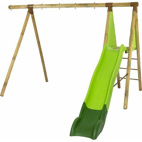 Portique bois évolutif FAZEL TRIGANO 2,30 m. 5 enfants - Structure seule + Toboggan