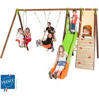 Portique bois-métal 2,30 m cabane, mur escalade, toboggan pour 8 enfants