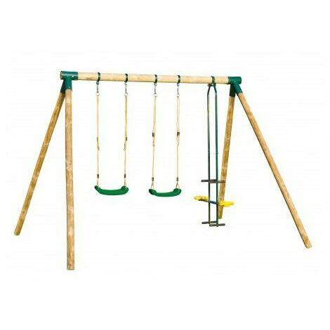 Portique en bois APACHE - 2 balançoires + 1 vis-à-vis