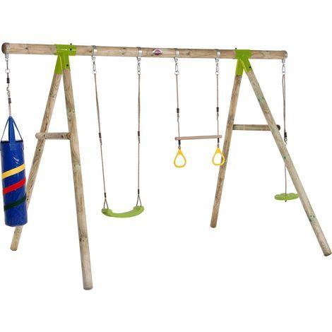 section spéciale profiter du prix le plus bas grande vente Portique en bois avec agrès et sac de frappe