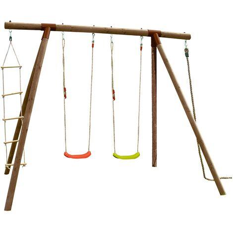 Portique en bois avec corde et échelle 4 agrès - Piment