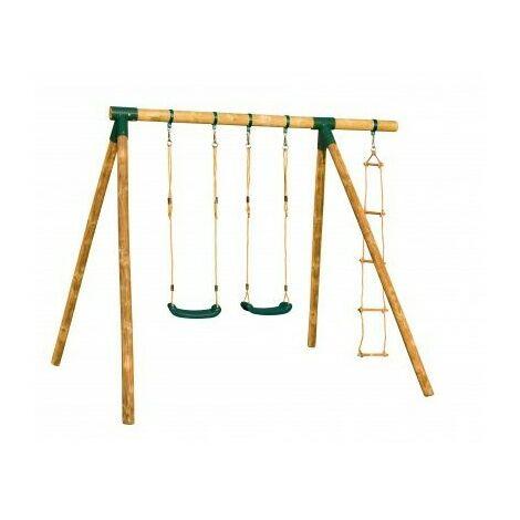 Portique en bois CHEYENNE - 2 balançoires + 1 échelle