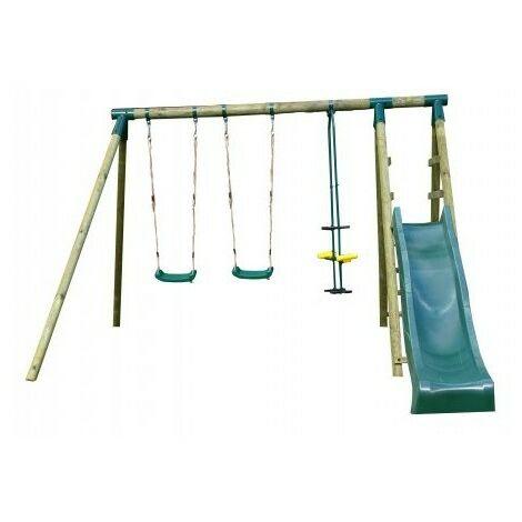 Portique en bois COMANCHE - 1 toboggan + 2 balançoires + 1 vis à vis