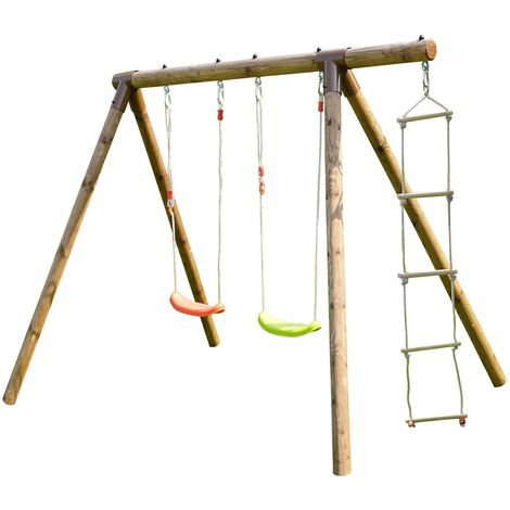 Portique en bois échelle et balançoire 3 agrès - Tonka
