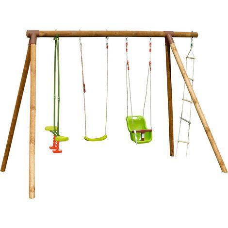 Portique en bois pour enfant 4 agrès - Tamarin