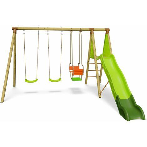 Portique en bois PUNJI Trigano 2,30 m. + toboggan 5 enfants