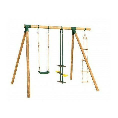Portique en bois SIOUX - 1 balançoires + 1 vis-à-vis + 1 échelle