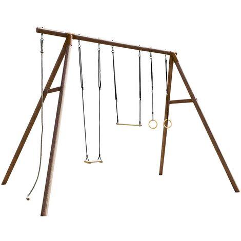 Portique en bois traité classe 4 - pour adolescents(3,25m)- 4 agrès - GALDAR