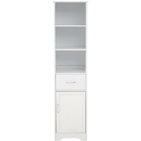 Portland Wooden Tall Cabinet White With 3 Shelf,1 Drawer And 1 Door Drawer