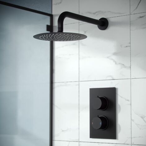 Porto Concealed Thermostatic Overhead 200mm Rainfall Shower Mixer Set Matte Black
