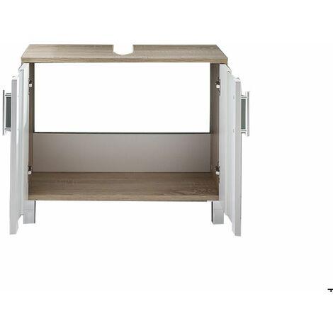 PORTO - Meuble de salle de bain. Meuble sous vasque en mélaminé / verre de couleur blanche. L - H - P : 65 - 54 - 31 cm - blanc