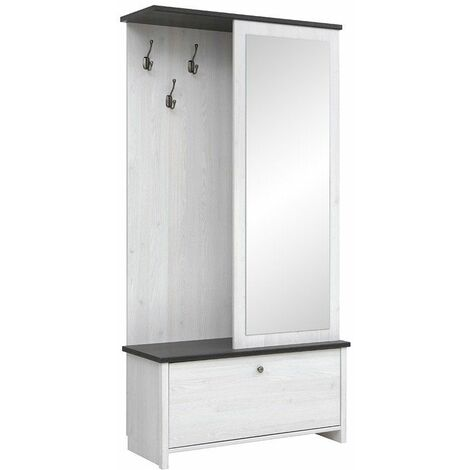 PORTOS | Meuble d'entrée vestiaire | Style scandinave | 189,5 x 95,5 x 39,5 cm | Meuble à chaussures | Miroir | Blanc - Blanc