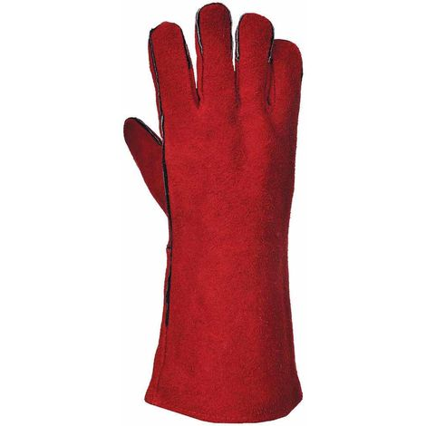 "Portwest - 14"" Welders Leather Gauntlet Glove (1 Pair Pack), Red, XXX-Large,"
