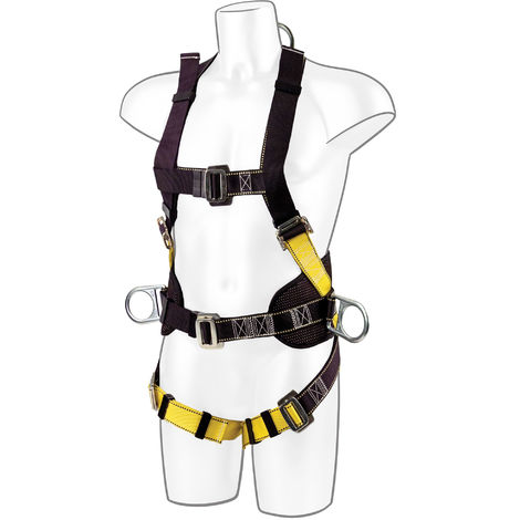 Portwest - 2 Point Comfort Plus Full Body Fall Arrest Harness, Black, One Size,
