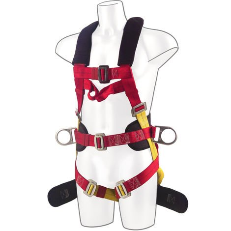 Portwest - 3 Point Comfort Plus Full Body Fall Arrest Harness, Red, One Size,