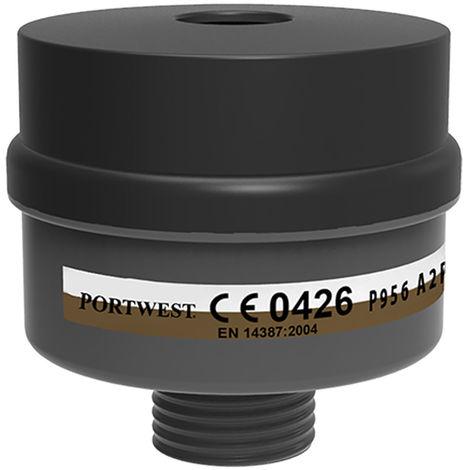 Portwest - A2P3 Combo Filter Universal Thread (Pack of 4), Black, Regular,