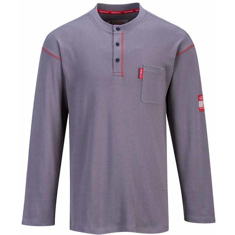 Portwest - Bizflame Henley 3 Button Crew Neck Long Sleeved Sweatshirt