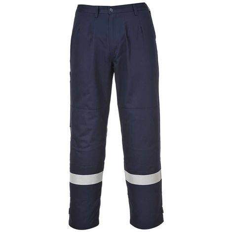 Portwest - Bizflame Plus Flame Resistant Safety Workwear Trouser, Navy, 36 Waist - 33 inch Leg,