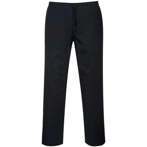 Portwest C070 - Black Sz 3 XL Tall Chefs Drawstring Trousers Waiter Kitchen