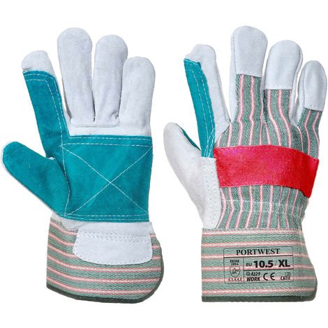 Portwest - Classic Double Palm Rigger Glove (1 Pair Pack), Green/Red, X-Large,