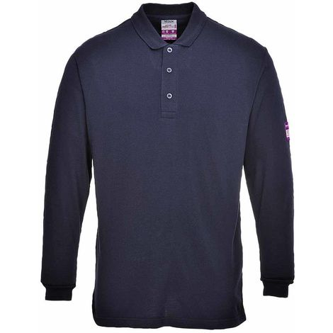 Portwest Flame Resistant Anti-Static Long Sleeve Polo Shirt Navy FR10