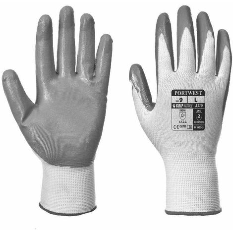 Pack of 12 Grey /& White A310GRWL PORTWEST Flexo Nitrile Grip Glove Large