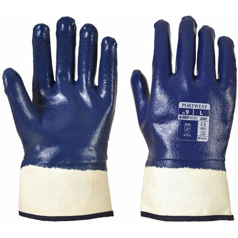 Portwest - Fully Dipped Nitrile Safety Cuff Glove (3 Pair Pack)