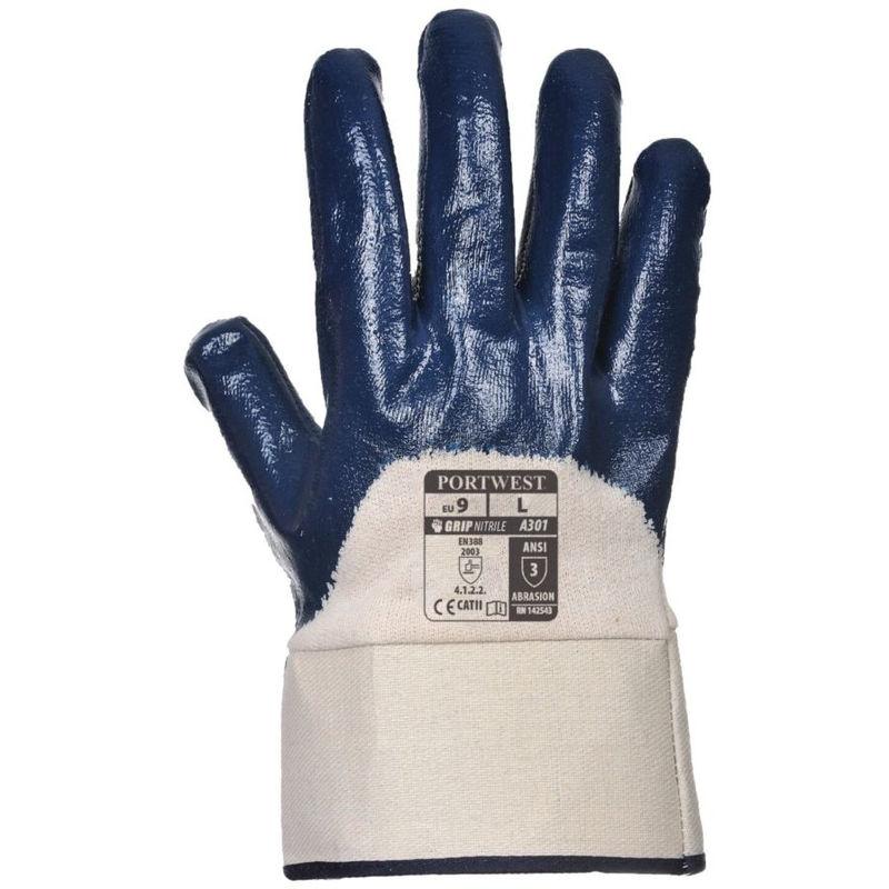 12 paires Portwest A301 nitrile sécurité poignet gants-bleu marine
