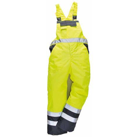 Portwest - Hi-Vis Contrast Safety Workwear Bib & Brace Dungarees - Lined