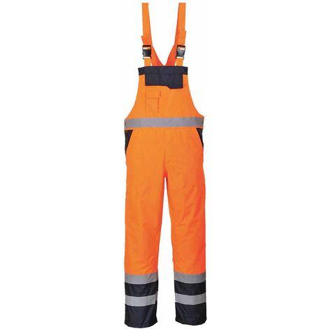 Portwest - Hi-Vis Contrast Safety Workwear Bib & Brace Dungarees - Unlined