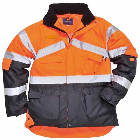 Portwest - Hi-Vis Outdoor Workwear 2-Tone Breathable Jacket With Pack Away Hood, Orange/Navy, XXX-Large,